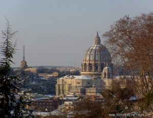 St Peter's Basilica Dome, Snow in Rome by StefanoRomeTours